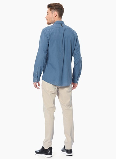 Que Slim Fit Uzun Kollu Gömlek İndigo